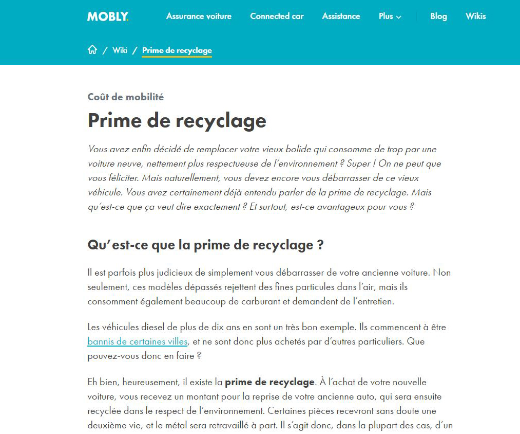 Traduction : prime de recyclage, Mobly